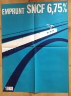 """Affiche Ancienne SNCF 1968 N°96 - Emprunt S.N.C.F. 1968 - J.Decroix - Train Graphisme épuré Tres """"moderne"""" - Affiches"""