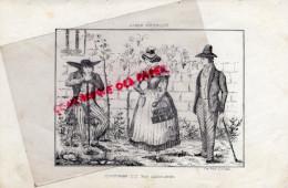 87 - 19 - 23 - COSTUMES DU BAS LIMOUSIN -COSTUME- RARE GRAVURE DE TRIPON LIMOGES-XIXE SIECLE - Estampas & Grabados