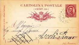 Postkarte Fil. C 12 Von Margherita Di Savoia Nach Ascoli Piceno (m078) - 1878-00 Umberto I