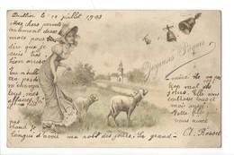 14842 - Joyeuses Pâques Jeune Fille Et Moutons Cloches - Pâques