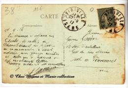 VIRIVILLE 1917 - POUR GONIN 12 EME REGIMENT D ARTILLERIE FORT DE VINCENNES - ISERE 38 SEINE - SUR CPA - Documents