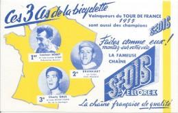 Buvard/SEDIS/ La Fameuse Chaine/Ces Trois As De La Bicyclette/Bobet-Gaul-Brankart/ 1955   BUV277 - Bikes & Mopeds