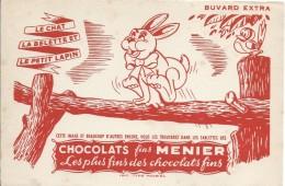 Buvard/ Menier/ Le Chat , La Belette Et Le Petit Lapin/1955-60   BUV281 - Cocoa & Chocolat