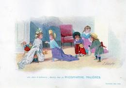 Chromo Phosphatine Falières Les Jeux D´enfants Lobrichon Planche 27 Les Visites Devambez Filles Fillettes Poupées Bébés - Publicités