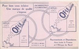Buvard/ Electricité/ Ampoules/OFLE/ Incandescence- Fluorescence/Marque Française/1955-60   BUV280 - Elettricità & Gas