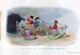 Chromo Phosphatine Falières Les Jeux D´enfants Lobrichon Planche 14 En Voyage Devambez Cheva De Bois Poupée - Publicités