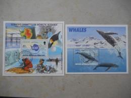 Y026 British Antarctic Territory Block 3, 4 Canc. / 1996 Beide Blockausgaben Cpl. Scar / Wale - Ungebraucht