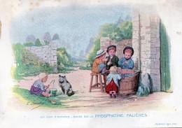 Chromo Phosphatine Falières Les Jeux D´enfants Lobrichon Planche 13 La Pêche Devambez Canne Chat - Publicités