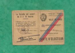 Carte D´électeur 20/03/1945 Paris 11e Roger Chérioux 17 Rue (de) Nice 2 Scans Futur Directeur Du Palais Rochechouart 18e - Cartes