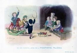 Chromo Phosphatine Falières Les Jeux D´enfants Lobrichon Planche 7 Le Cirque Devambez Cheval De Bois - Publicités