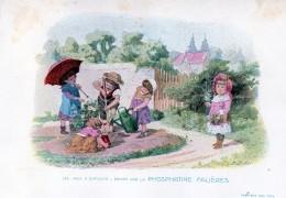 Chromo Phosphatine Falières Les Jeux D´enfants Lobrichon Planche 6 Le Jardinage Devambez Arrosage Parapluie - Publicités