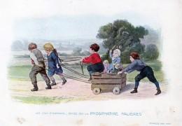 Chromo Phosphatine Falières Les Jeux D'enfants Lobrichon Planche 5 La Voiture Poupées Devambez - Publicités