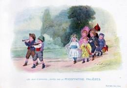 Chromo Phosphatine Falières Les Jeux D´enfants Lobrichon Planche 4 La Mariée Devambez Mariage Musique - Publicités
