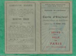 Carte D´électeur 01/10/1945 Paris 11e Roger Chérioux 17 Rue (de) Nice 2 Scans Futur Directeur Du Palais Rochechouart 18e - Cartes