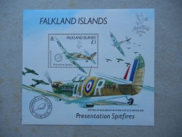 Y040 Falklandinseln Block 7 Mnh Spitfire Aeroplane - Falkland