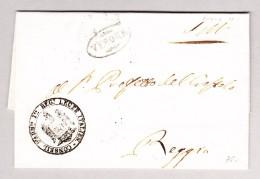 Italien Verona Stempel Im Oval Vorphila Brief Hülle Nach Reggio Mit 2-Zeil. AK-Stempel Rot - 1. ...-1850 Vorphilatelie