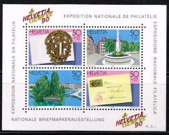Schweiz 1990, Michel# 1427 - 1430/ Block 26 ** Briefmarkenausstellung Genf - Philatelic Exhibitions