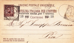 Postkarte Fil. C 20 Von Albano Laziale Nach Pisa (m105) - 1878-00 Umberto I