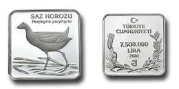 AC - PURPLE SWAMPHEN PORPHYRIO PORPHYRIO COMMEMORATIVE SILVER COIN BIRDS OF TURKEY SERIES #12 TURKEY 2001 PROOF UNC - Turkey