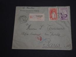 FRANCE / SÉNÉGAL - Enveloppe En Recommandée De Dakar Pour Paris En 1939, Affranchissement Plaisant- A Voir - L 408 - Sénégal (1887-1944)