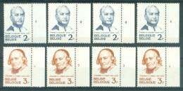 BELGIE - OBP Nr 1214/1215 - Frère Gochet, Kanunnik Triest - PLAATNUMMER 1/4 - MNH** - Numéros De Planches
