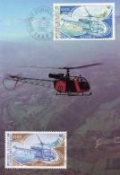 CARTE MAXIMUM 2 Timbres T.A.A.F. ALOUETTE II - CAD DUMONT D´URVILLE 15/12/1982 - Helicopters