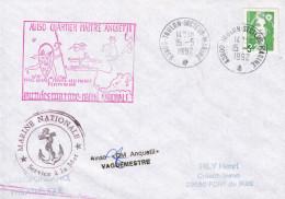LETTRE  AVISO QUARTIER MAITRE ANQUETIL    FORCE NAVALE FRANCO ALLEMANDE TEMPORAIRE   15/5/92 TOULON SECTEUR MARINE - Marcophilie (Lettres)