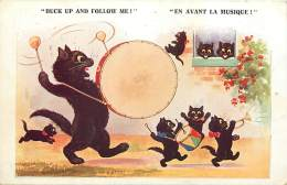 - Themes Divers -ref-M 986 - Animaux - Chats Noirs Musiciens - Chat Noir - Illustrateur - Illustrateurs - Musique - - Chats