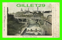 OTTAWA, ONTARIO - THE TIMBER SLIDE - W. G. MACFARLANE - TRAVEL IN 1908 - 3/4 BACK - - Ottawa