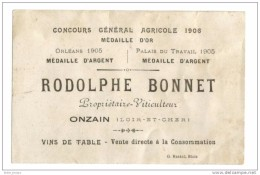 Etiquette Medaille D'or 1906 Onzain  41 Rodolphe Bonnet Vin De Table - Rouges