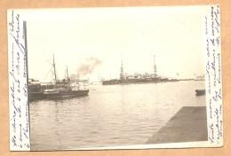 CARTE PHOTO - BATEAUX De GUERRE Dans La Rade D'Alger? - Oblit. MUSTAPHA - ALGER 1904 - ALGERIE - BATEAUX - Guerra