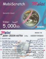 SUDAN - Earth, Mobitel Prepaid Card(plastic) 5000 SD, Used - Sudan