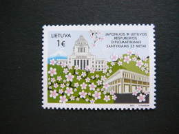 Lietuva Litauen Lithuania Litouwen 2016 MNH # Mi.1216 25th Anniversary Of Diplomatic Relations With Japan.Sakura Flowers - Lithuania