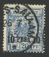 German East Afrika, 10 P. On 20 Pf. 1893, Sc # 4, Mi # 4, Used, Dar-es-Salaam - Colony: German East Africa