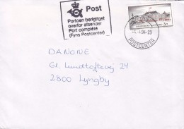 Denmark FYNS POSTCENTER 1994 Cover Brief LYNGBY PORT COMPLÉTÉ Portoen Berigtiget Amalineborg Castle Schloss Chateau - Dänemark