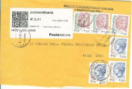 DONNE, INSIEME DI CENTESIMI, AFFRANCATURA NON COMUNE,2002, TIMBRO POSTE LUGO. - 6. 1946-.. Republik
