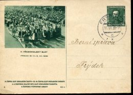 10575 Ceskoslovensko,  Stationery Card 1938 Circuled  Vsesokolsky Slet Praha 1938 - Cartes Postales