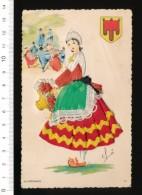 Carte Brodée / Auvergnate / Blason Auvergne Type Costume Folklore // 8/GF - Ricamate