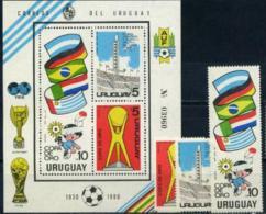 Uruguay, 1980, 50 Years Of Winning Of World Cup, 3 Stamps + S/s Block - Fußball-Weltmeisterschaft