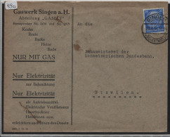 1932 Hindenburg Medaillon 25pf. Von Gaswerk Singen Nach Etzwilen - Germania