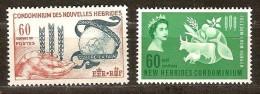 Nouvelles Hebrides New Hebrides  Yvertn° 197-198 *** MNH Cote 7,65 Euro - Légende Française