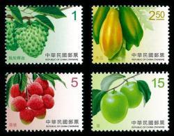 2016 Taiwan Fruit Stamps (I) Atemoya Sugar Apple Papaya Litchi Date Post - Agriculture