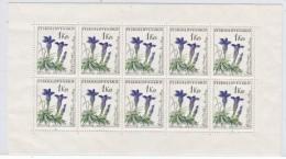 CZECHOSLOVAKIA  1017 A  **  SHEETLET   FLOWERS  GENTIAN - Czechoslovakia