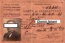 Carte Du COMBATTANT Le 05/01/1934 Nantes 44  - Scans Recto-verso - Documents