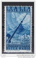 REPUBBLICA  VARIETA´:  1947  P.A. RADIO -  £. 35  AZZURRO  N. -  RUOTA  I° D.A. -  C.E.I. 133 A - 6. 1946-.. Republic