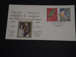 NOUVELLES HÉBRIDES - Enveloppe 1er Jour En 1974 - Oiseaux - A Voir - L 452 - Légende Anglaise