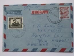 AUSTRALIA 1954 FIRST DAY OF ISSUE AEROGRAMME SENT TO ENGLAND - 1952-65 Elizabeth II : Pre-Decimals