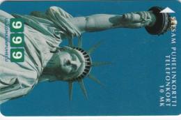 Finland, TTL-D-344A, Statue Of Liberty, 2 Scans.   Code 7020, Exp. : 06/99 - Finlande