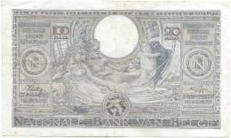 Banque Nationale De Belgique/ 100 Francs - 20 Belgas/ 1941       BILL137 - [ 2] 1831-... : Belgian Kingdom