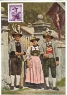 10618 AUSTRIA, Maximum  1956  Tiroler Trachten,  5s.  Austrian Tirol Costume - Maximumkarten (MC)